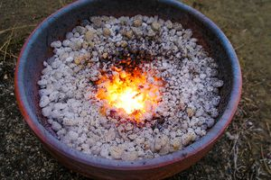 Iron metal burning to create a thermite reaction.