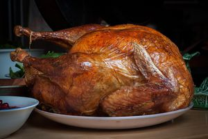 Roast turkey (pavo asado) for Thanksgiving.