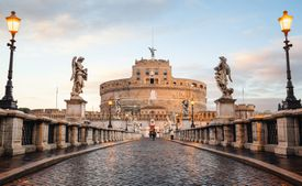 Front view of Castel Sant'Angelo in Rome, Italy