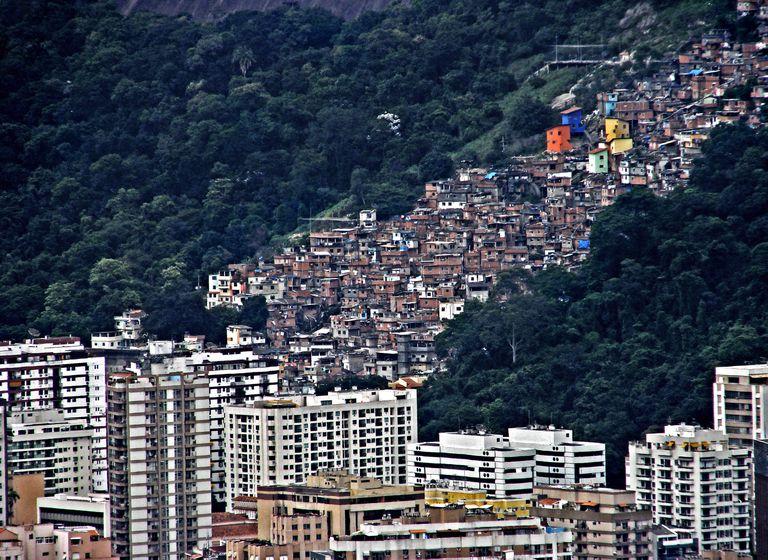 Favela and buildings in Rio de Janeiro, Brazil