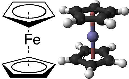 This is the chemical structure of ferrocene.