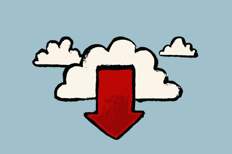 Illustration of clouds and red arrow symbol against blue background