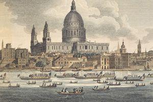 Color sketch of River Thames, London in 1750.