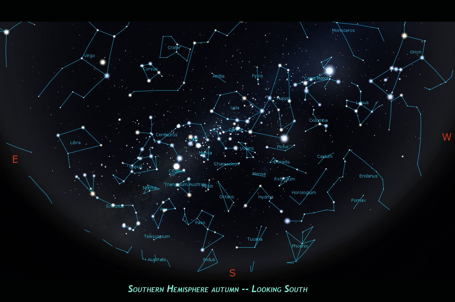 Southern Hemisphere autumn constellations, looking south.