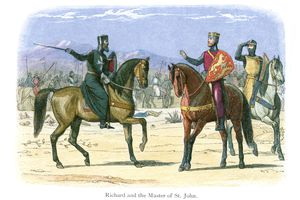 Richard and the Master of St. John vintage color engraving