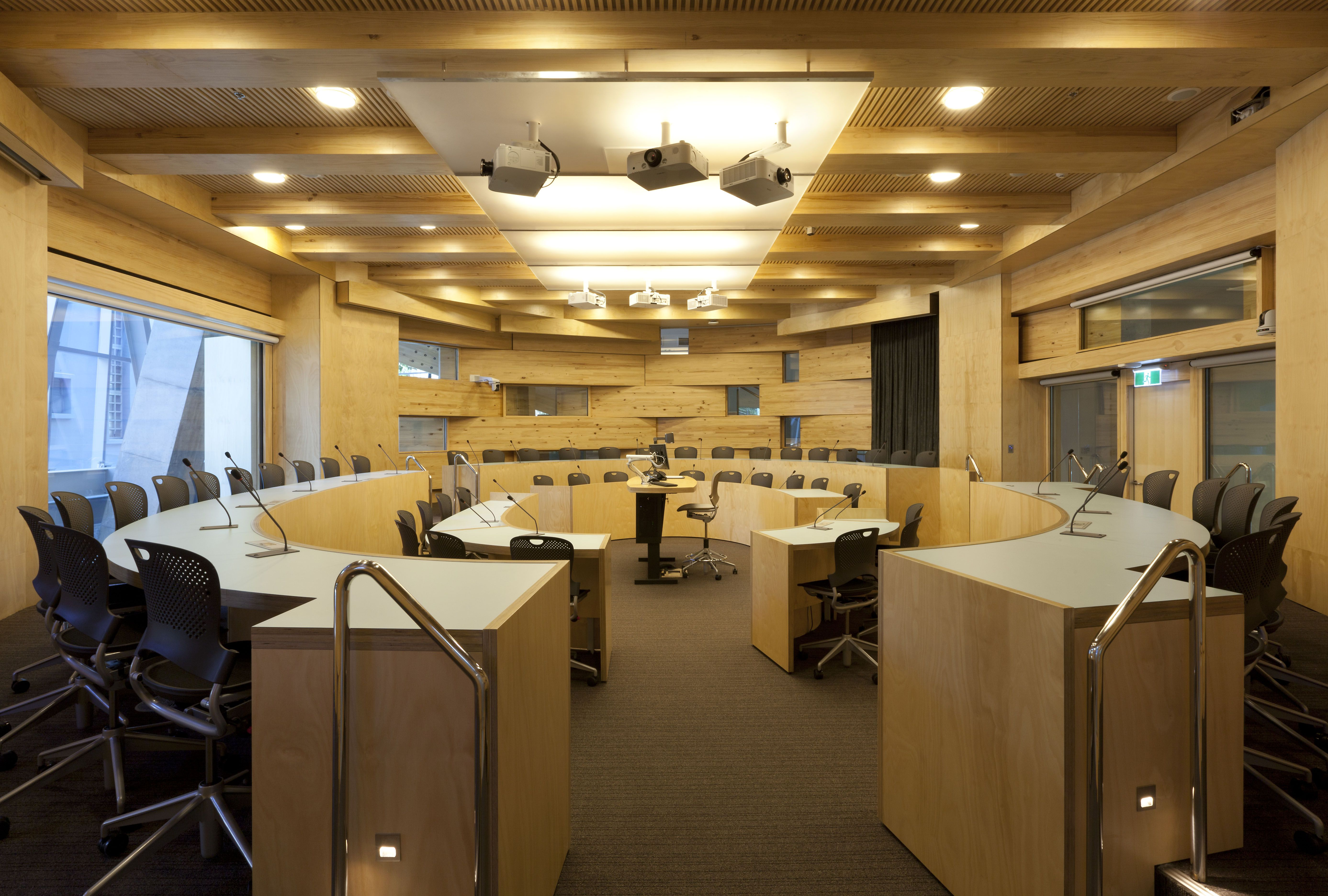 Gehry designed classroom, wood, circular, modern lighting, outside windows, UTS in Sydney