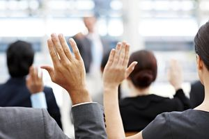Business People Raising Their Hands Busine...
