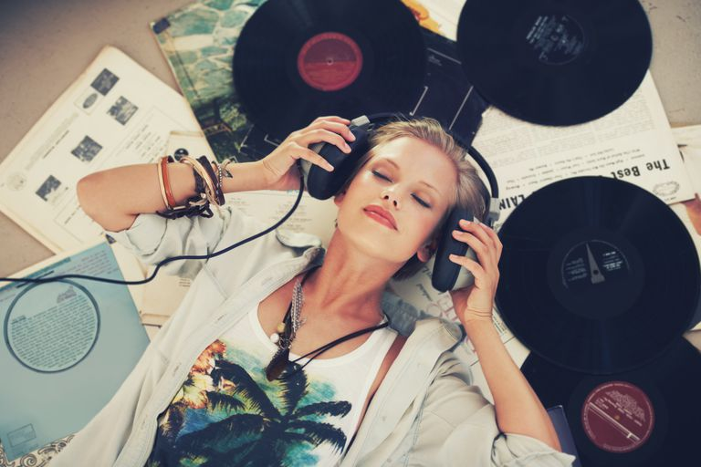 Woman Listening to Records