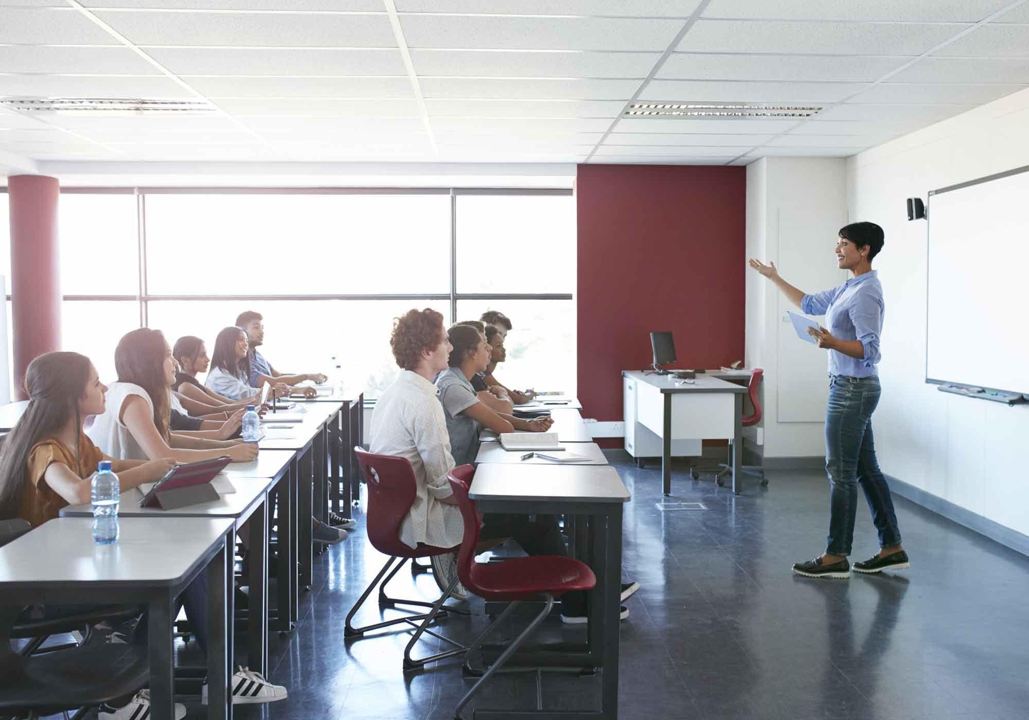 A teacher explains the classroom rules