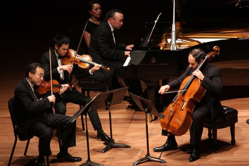 Chamber Music Society performing at Alice Tully Hall on Tuesday night, April 24, 2012.Image shows From left, Cho-Liang Lin, Richard O'Neill, Jon Kimura Parker and Gary Hoffman performing Brahms' 'Quartet No. 3 in C minor.'