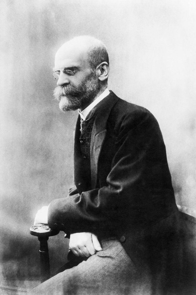 Portrait of Emile Durkheim on chair.