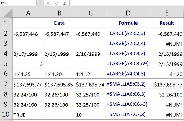 Find the nth Largest or Smallest Number in Excel with the LARGE and SMALL Functions
