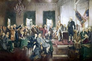 U.S. Constitutional Convention. Painting by Howard Chandler Christy (1840)