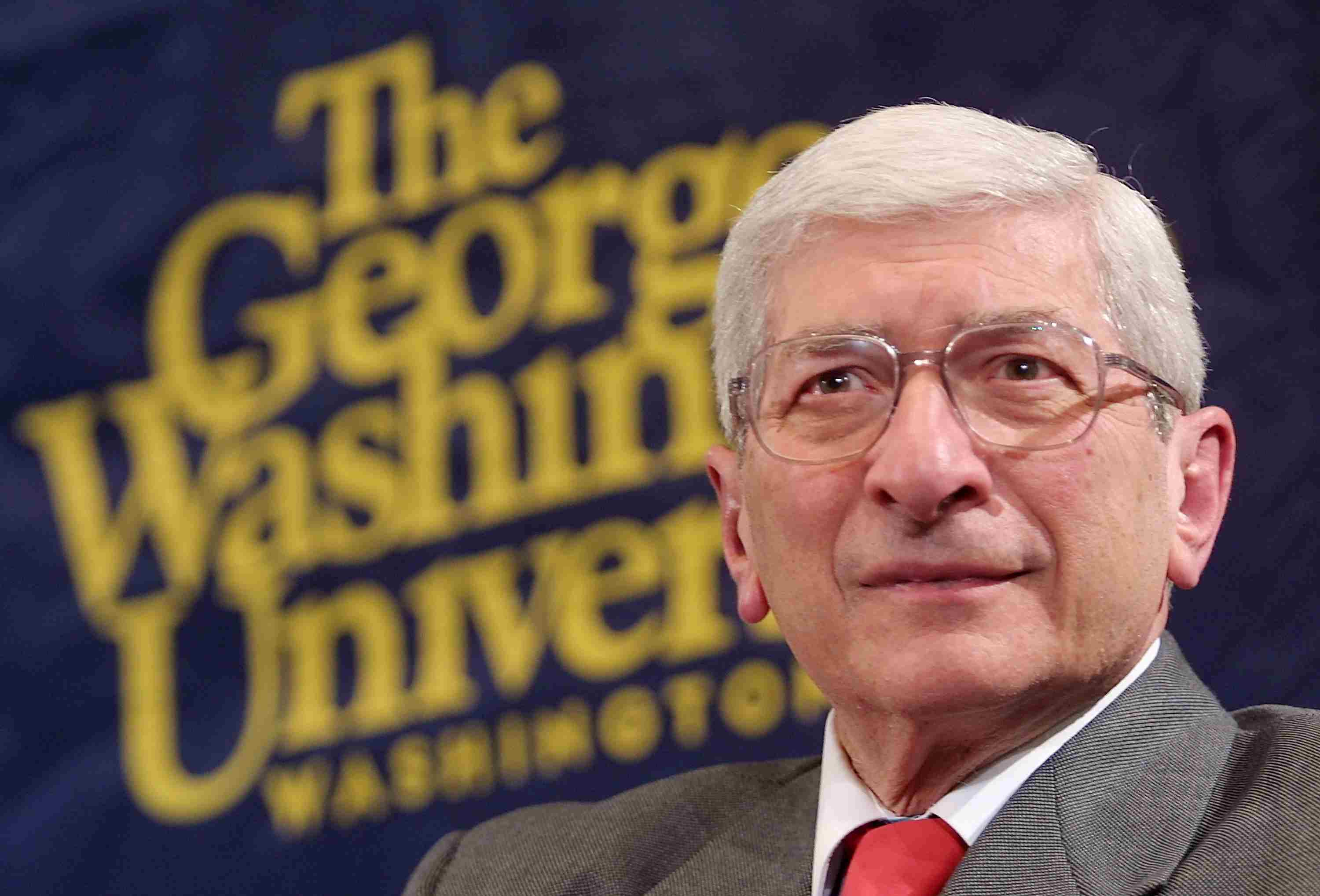 Marvin Kalb Listens To A Question From The Audience During His Conversation With Aol Time...