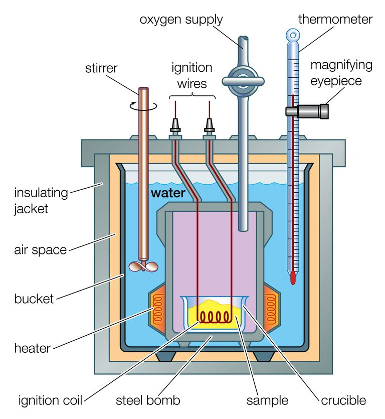 Cross-section of a bomb calorimeter to measure heat flow in a reaction