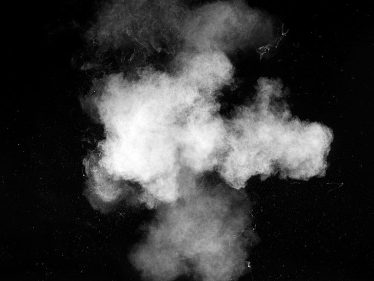 vapor cloud on black background