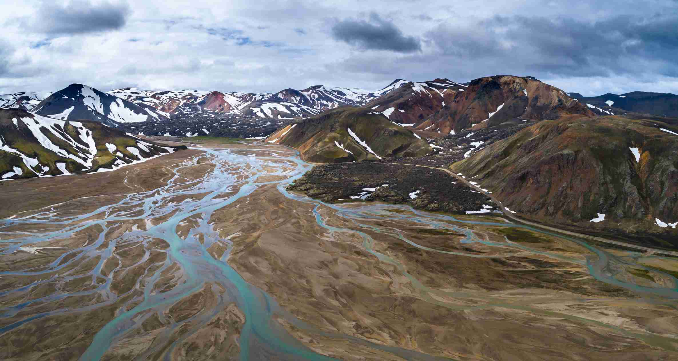 Landmannalaugar in Iceland showcases the many colors taken by rhyolite.