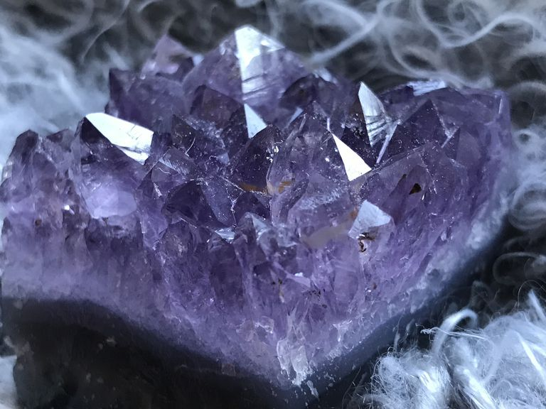 Amethyst mineral close up.