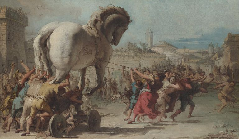 Artist rendering of the Trojan Horse.
