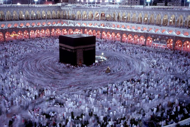 Muslim worshippers circle the Kaaba in Mecca