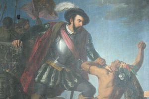Painting depicting Hernan Cortes subjugating Native Americans.