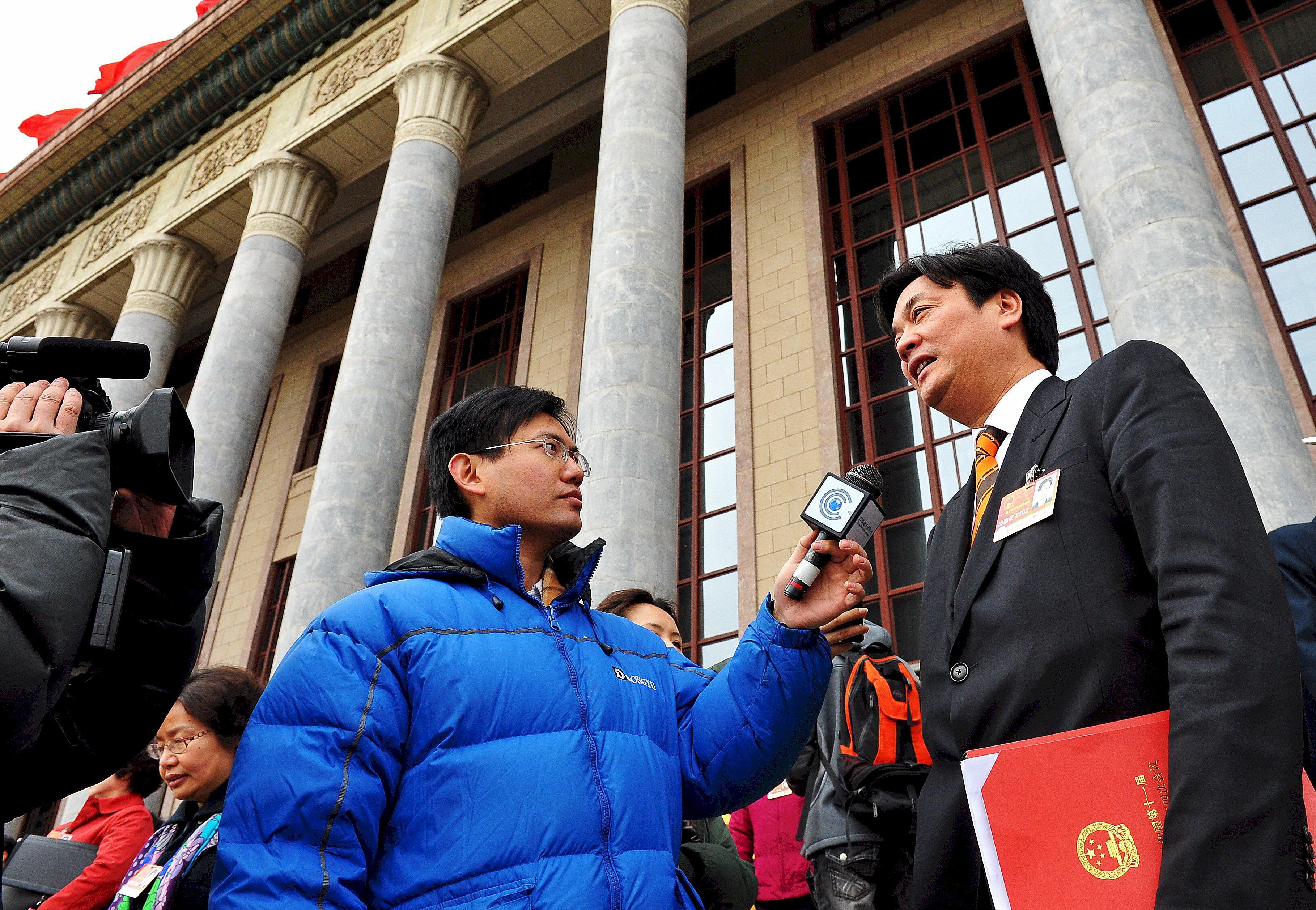 Journalists in Tiananmen Square