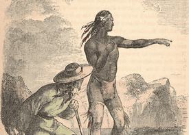 Illustration depicting Native American Indian Squanto (aka Tisquantum) (died 1622), from the Pawtuxet tribe, pointing on a coastal rock while serving as guide an interpreter for pilgrim colonists at Plymouth Colony and Massasoit. He died from contracting smallpox while guiding William Bradford's expedition around Cape Cod, Massachusetts.