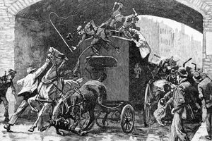 Illustration of a Fenian attack on an English police van