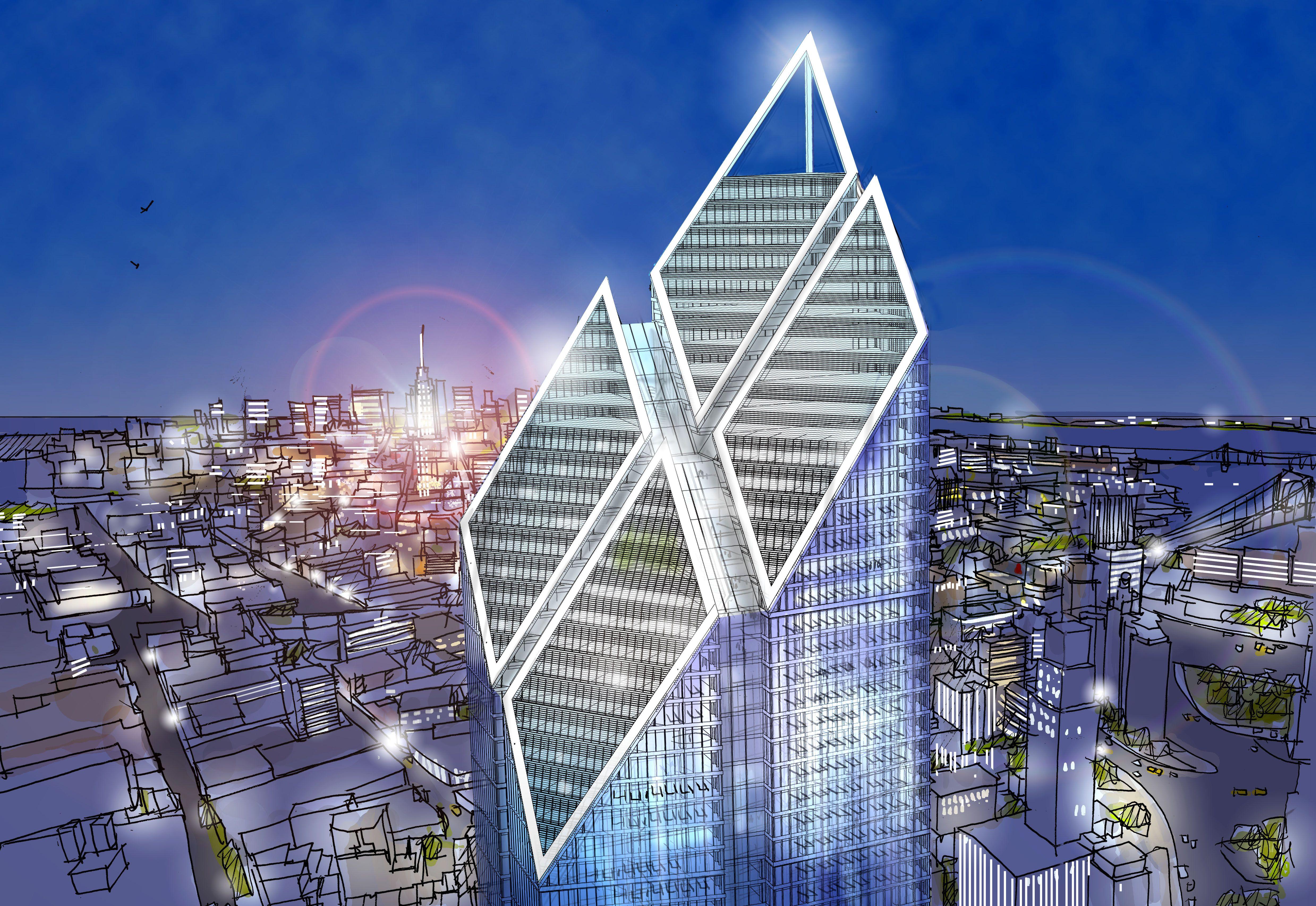 Architect's Rendering -- four diamond top of skyscraper at Night
