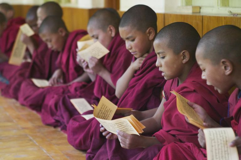 India, Ladakh, Phyang Gompa monastery, young monks (8-9, 10-11, 12-13) sitting cross-legged studying scriptures, side view