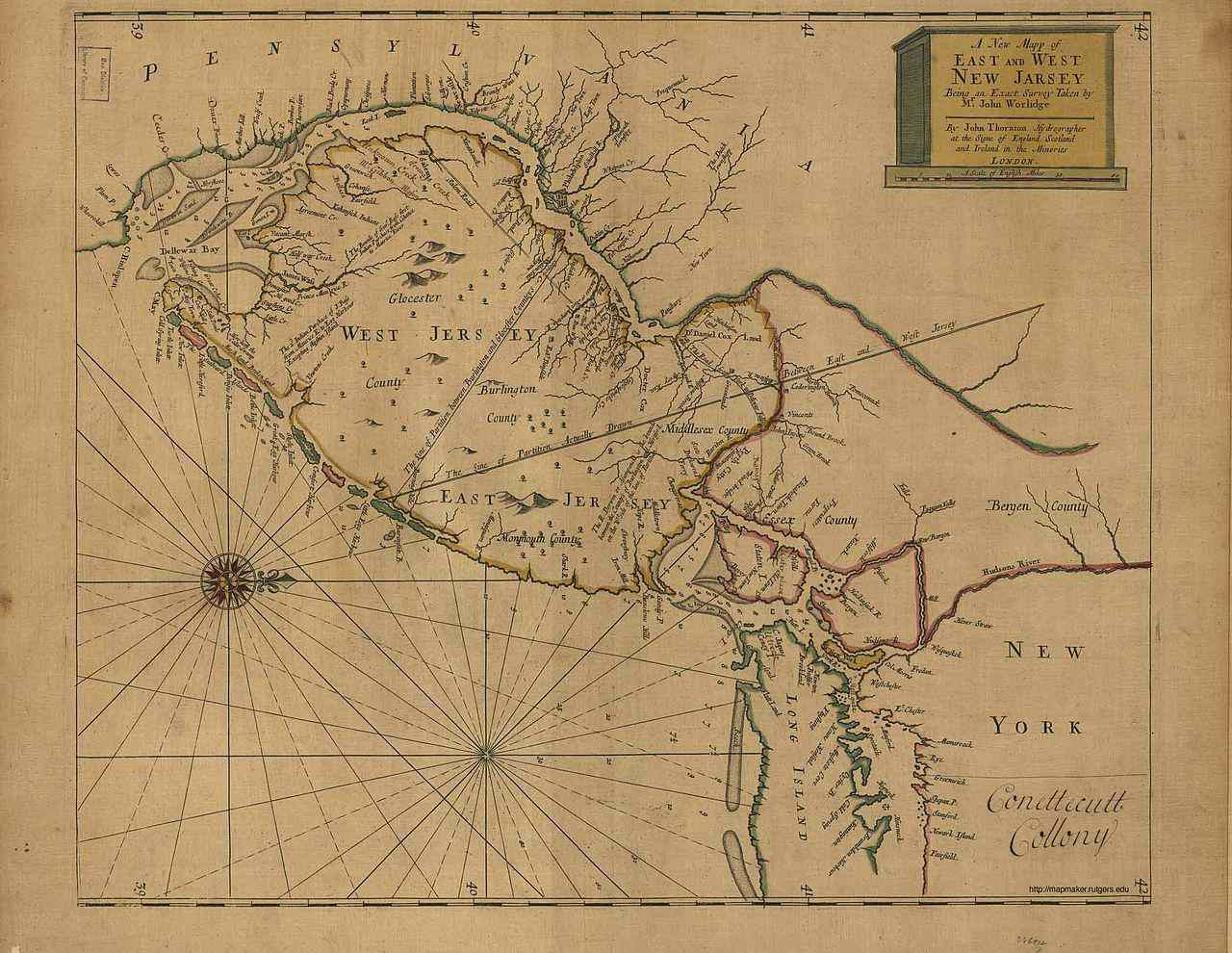 Map of East and West Jersey in 1706