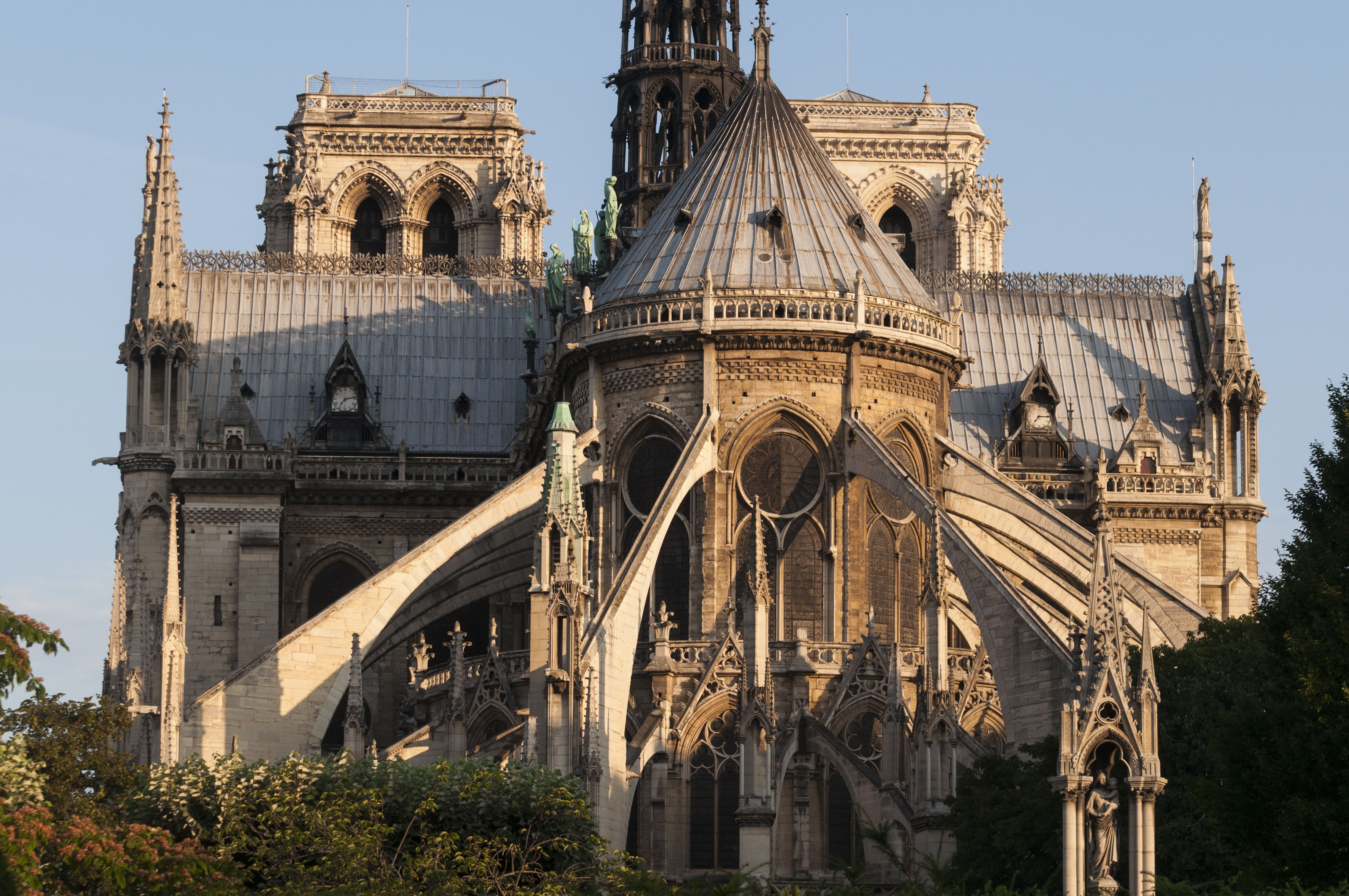 Flying buttresses of Notre Dame Cathedral in Paris.