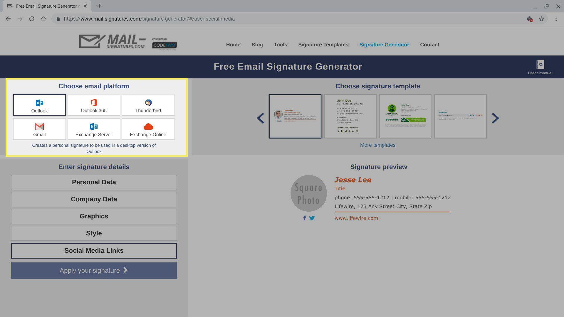 Email platform options in Signatures Generator