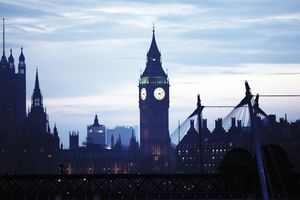 Houses of Parliament and Big Ben at dusk in London