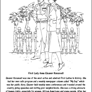 First Lady Anna Eleanor Roosevelt Coloring Page