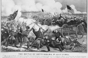 An engraving of the battle of Gettysburg