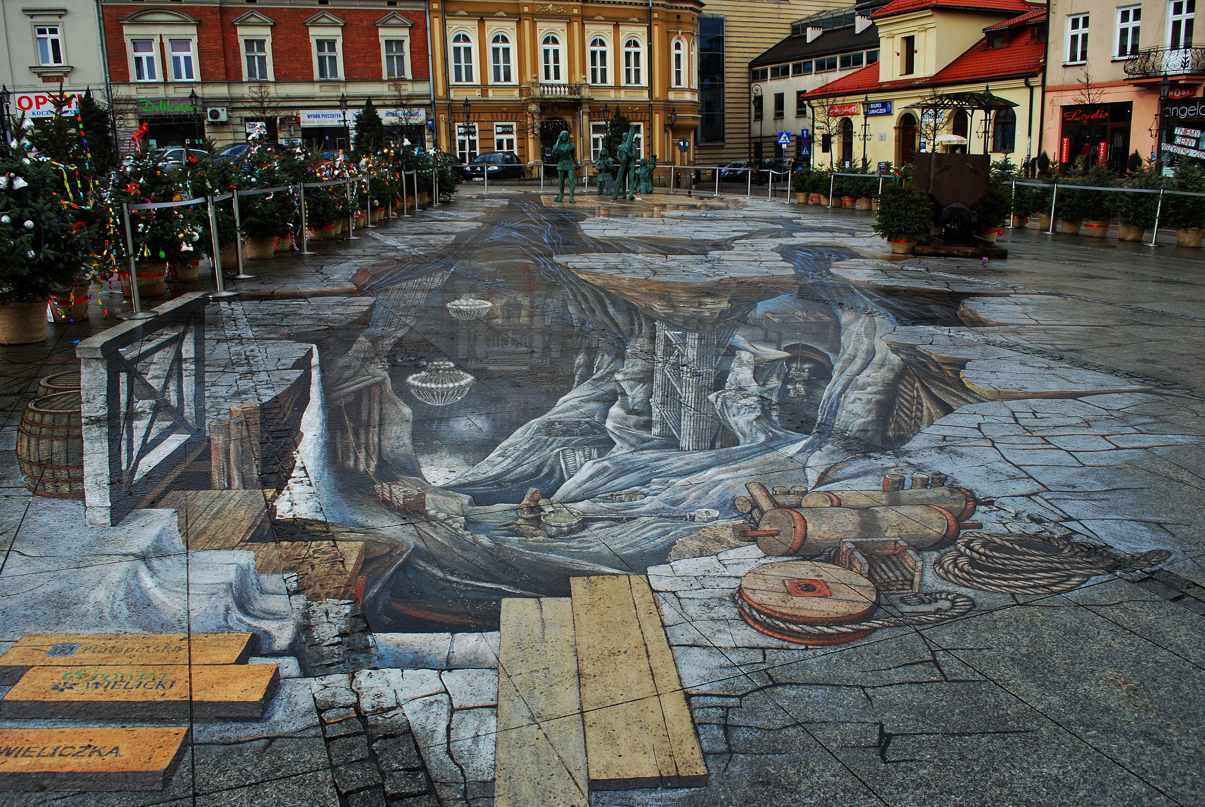 The 3D street painting Salt World