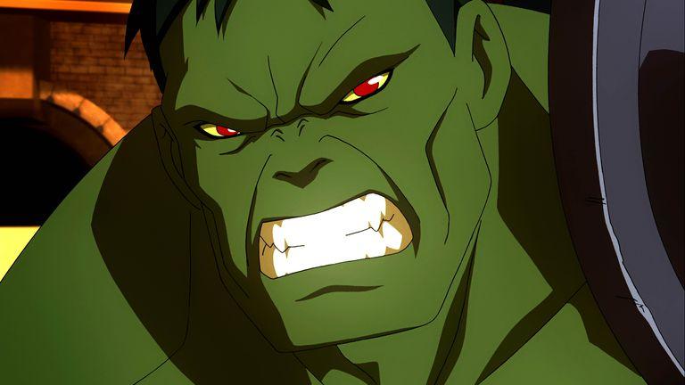 Still of Hulk baring teeth from Planet Hulk.