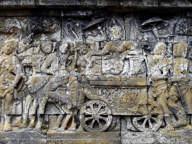 Queen Maya's retreat to Lumbini to gave birth to Prince Siddharta Gautama (Buddha), the panel of Lalitavistara, Borobudur, Central Java, Indonesia.