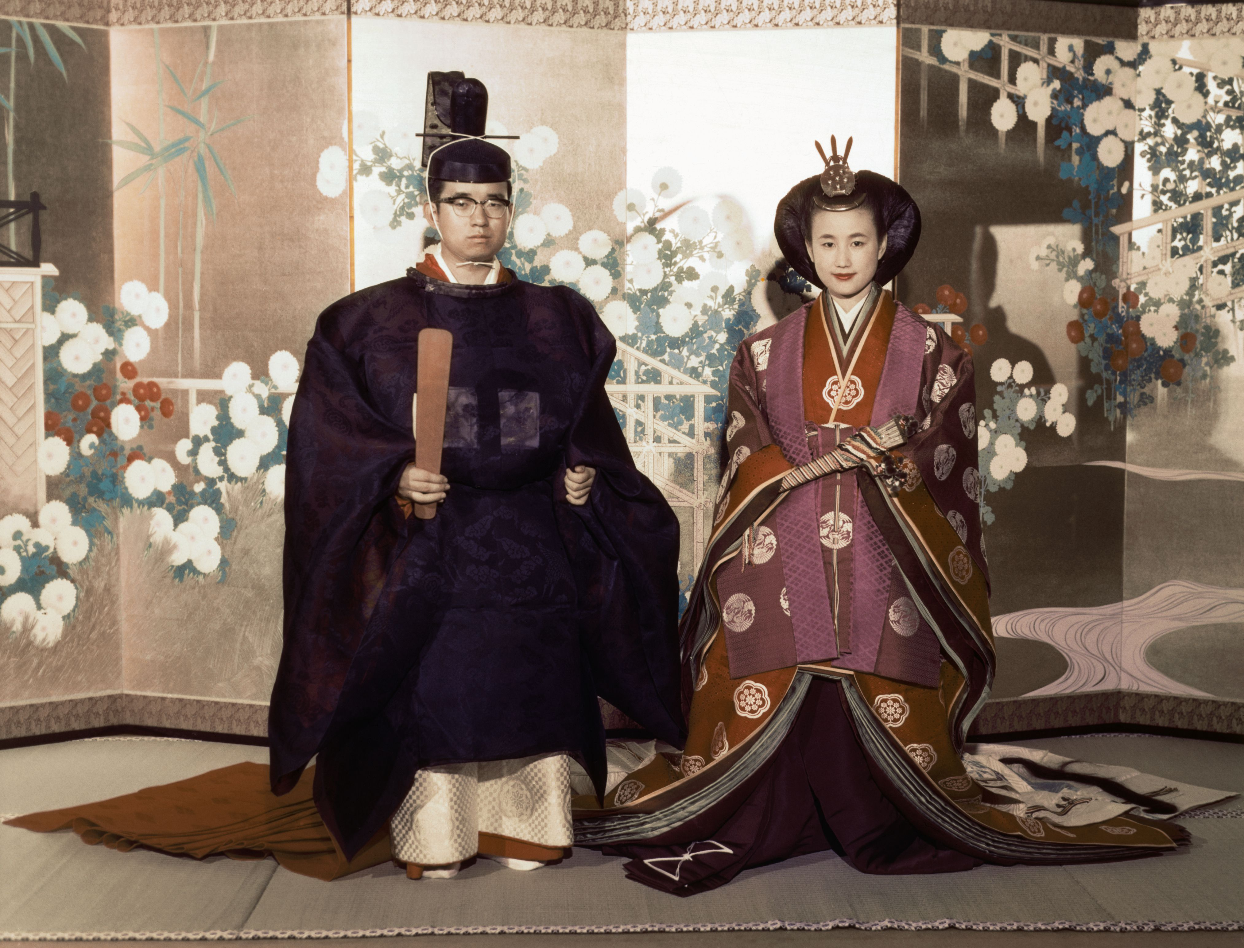 Prince and Princess Hitachi Wearing Traditional Japanese Wedding Attire