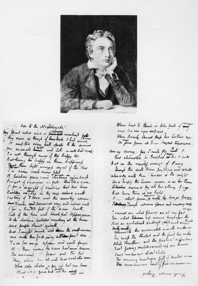 John Keats, English poet, and his Ode to a Nightingale, 1819 (1958).