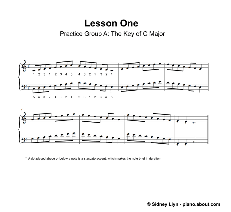 Piano sheet music lessons