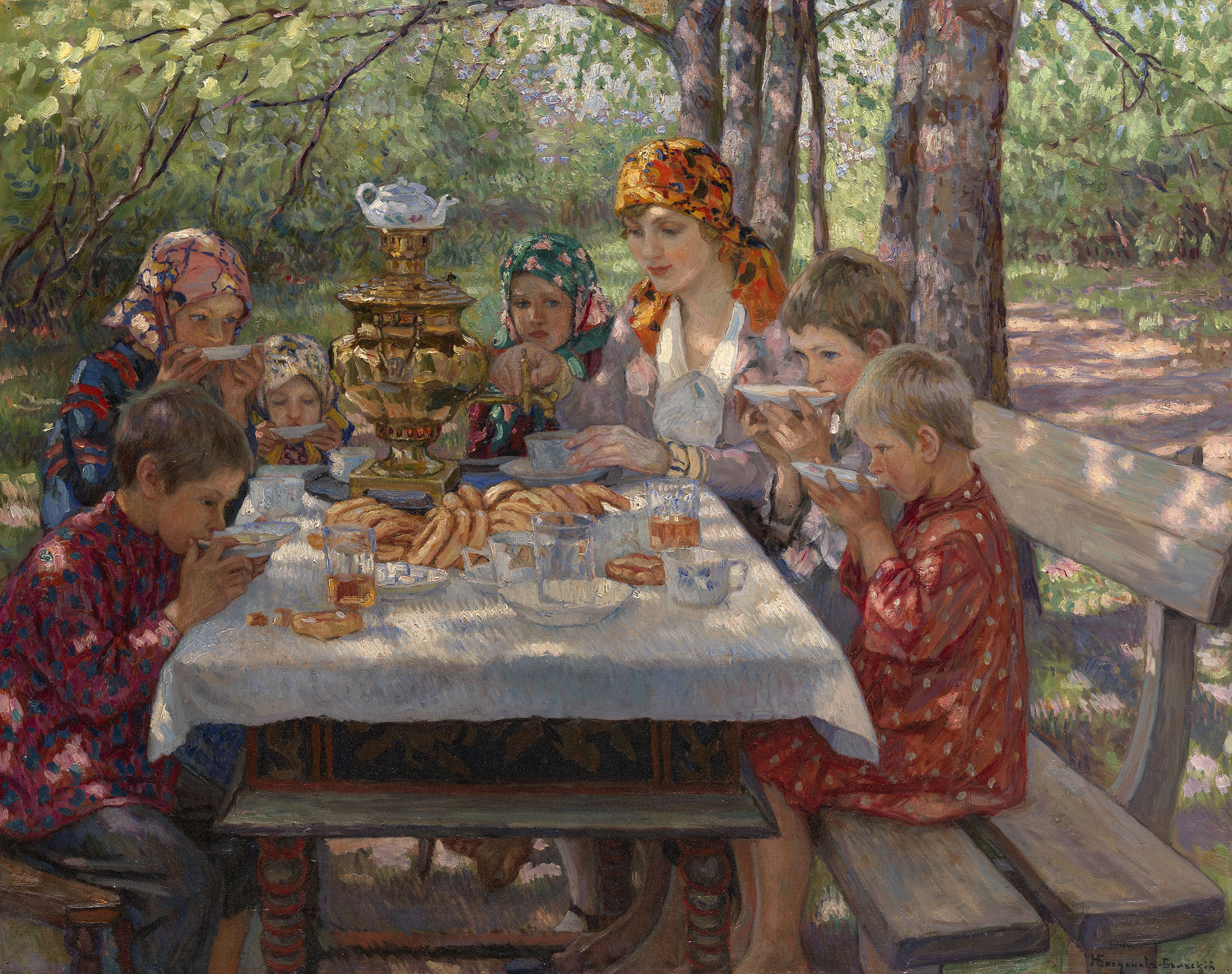 The Teacher's Guests. Artist: Bogdanov-Belsky, Nikolai Petrovich (1868-1945)