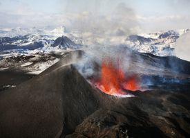 Close up of Eyjafjallajökull Volcano Erupting In Iceland, 2010.