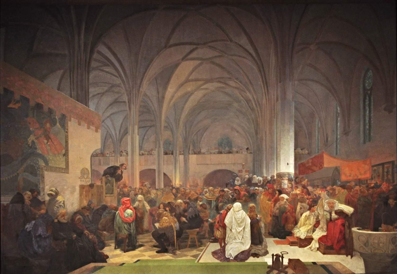 slave epic master jan hus preaching alphonse mucha