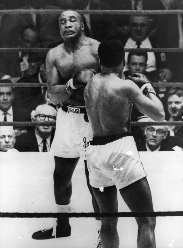 Sonny Liston and Cassius Clay (Muhammad Ali) during their fight for the heavyweight championship in 1964.