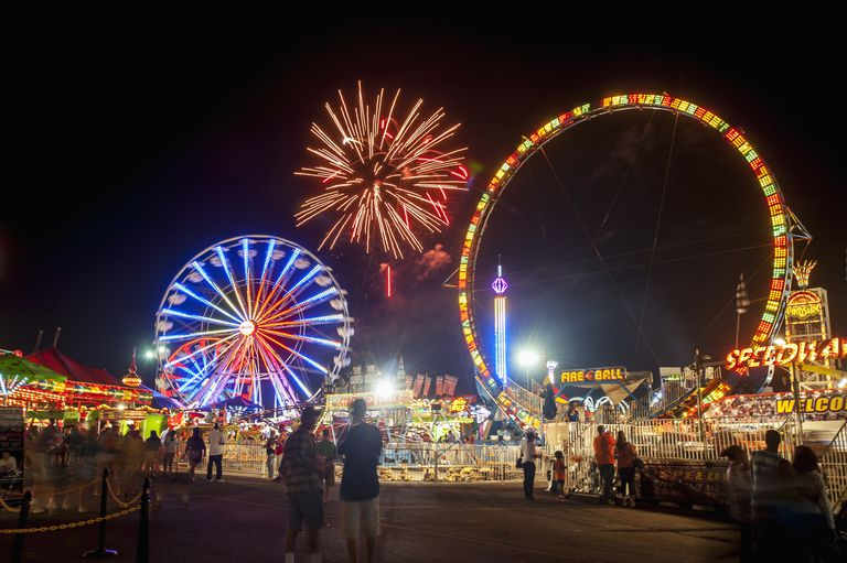 A view of the Maryland State Fair at night