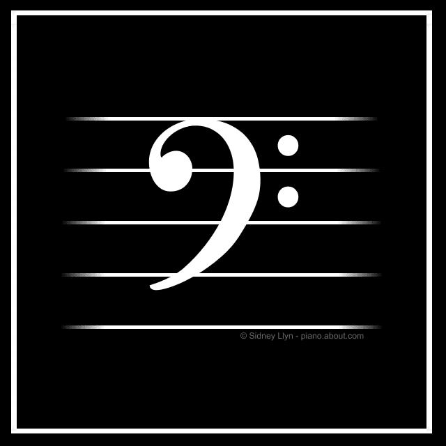 black white bass clef