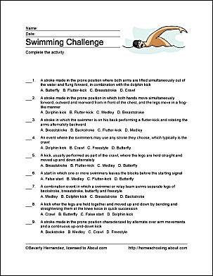 swimming challenge sheet