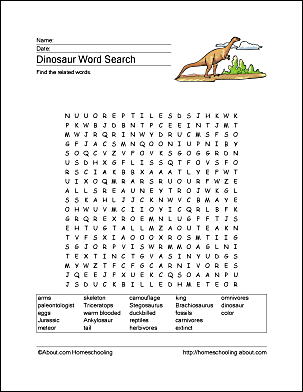 dinosaur word search vocabulary crossword and more. Black Bedroom Furniture Sets. Home Design Ideas